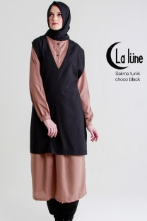 Jual Busana Muslim Wanita Salima tunik Black Choco Dewihijab.com (1)