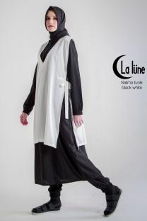 Jual Busana Muslim Wanita Salima Tunik Black White Dewihijab.com (1)